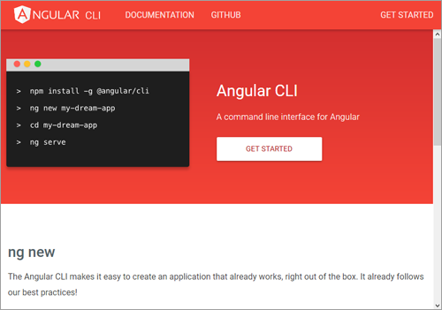 図1 Angular CLIの公式Webサイトhttps://cli.angular.io/