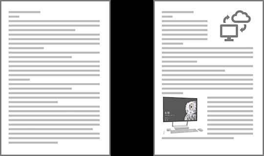 文字だらけの資料と、図や画像の入った資料、読みやすそうに見えるのはどっち?