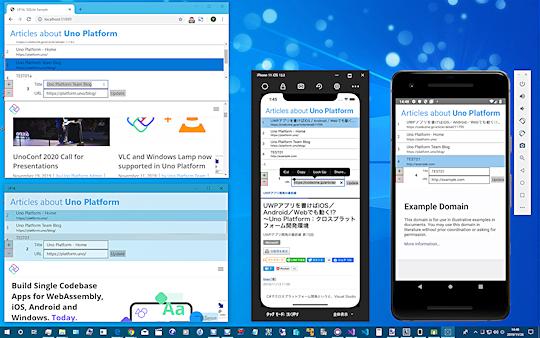 4つのプラットフォームで動いている今回のサンプルアプリ