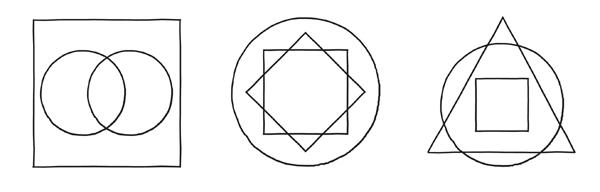 図1.4.1 正方形、円、正三角形の図
