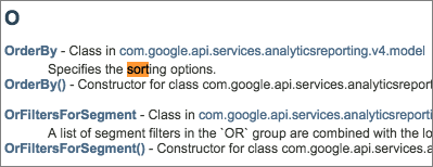 Reporting API v4 Java Document Indexページ